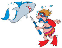 Shark and diver. Vector clip-arts / illustrations for your design Stock Photo