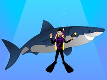 Shark and Diver. Funny cartoon of a shark and a diver posing for a picture Royalty Free Stock Image