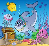 Shark diver with treasure chest Royalty Free Stock Images