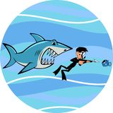 Shark and diver Royalty Free Stock Images