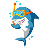 Shark with diving equipment stock illustration