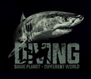 Free Shark Diving Scuba Diver Sea Ocean T-shirt Design Royalty Free Stock Photo - 114356865