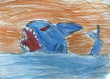 Shark drawing by a kid royalty free stock photography
