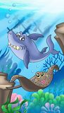 Shark and eagle ray with shipwreck. Color illustration Stock Image