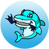 She-shark eating. A female shark, with a charming face, devouring a man Royalty Free Stock Image