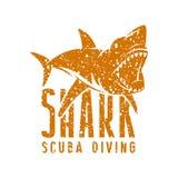 Shark emblem. Graphic design for t-shirt. Orange print on white background vector illustration