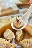 Shark Fin Dumplings In Bamboo Tray In Restaurant Royalty Free Stock Image