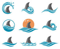 Shark fin icon set Stock Image