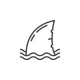 Shark fin line icon, outline vector sign. Linear pictogram isolated on white. Symbol, logo illustration Stock Photo