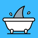 Shark fin moving in bath tub Royalty Free Stock Photo