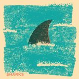 Shark fin in ocean.Vintage poster on old paper texture Stock Photo