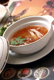 Shark fin soup. Casserole and shark fin soup Red wine royalty free stock photos