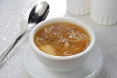 Shark fin soup. Shark fin broth mushroom vegetable soup royalty free stock photo