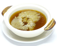 Shark fin soup. Chinese food cuisine, shark fin soup in casserole royalty free stock images