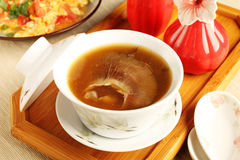 Shark fin soup. Table set with shark fin soup royalty free stock images