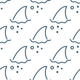 Shark fin in water waves seamless pattern. Flipper of fish in the sea white and blue background surface in outline style Royalty Free Stock Photography