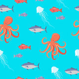 Shark, Fish, Octopus, Jellyfish Endless Texture. Sea life seamless pattern. Shark, fish, octopus, jellyfish endless texture. Wallpaper design with sea cartoon Stock Photography
