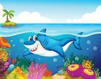 Shark fish in sea. Illustration of shark fish in a deep sea water Royalty Free Stock Photo