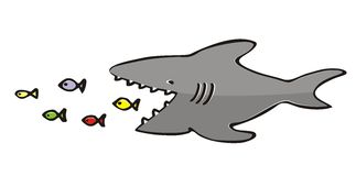 Shark and fish. Vector icon. Humorous illustration Royalty Free Stock Photo