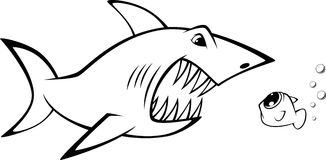Shark and fish. Vector illustration: shark and fish Stock Photography