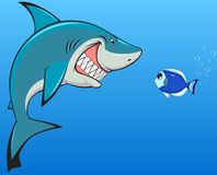 Shark and fish. Vector illustration, toothy white shark and fish stock illustration