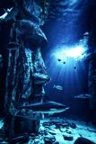 Shark and Fishes underwater aquarium surrounded by easter isl. Shark and Fishes underwater in aquarium surrounded by easter island figurines on bottom of the Royalty Free Stock Photography