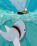 Shark fishing vector illustration Stock Image