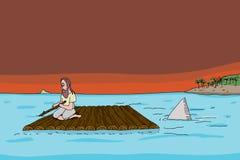 Shark Following Man on Raft Stock Photo