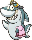 Shark with goggles. Happy cartoon shark wearing goggles and holding a towel. Vector clip art illustration with simple gradients. All in a single layer Royalty Free Illustration