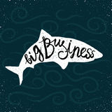 Shark hand drawn. Silhouette on stylized waves background Royalty Free Stock Image