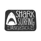 Shark Head With Open Mouth Summer Surf Club Black And White Stamp With Dangerous Animal Silhouette Template Royalty Free Stock Photos