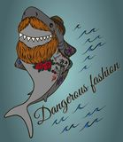 Shark hipster with a beard wearing a hat. And tattoos Royalty Free Stock Photo