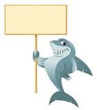 Shark holding blank banner Royalty Free Stock Photo