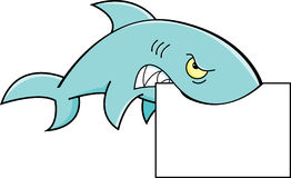 Shark holding a sign Royalty Free Stock Images