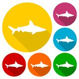 Shark icons set with long shadow. Vector icon Royalty Free Stock Photos
