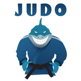 Shark judo fighter in kimono vector illustration Royalty Free Stock Photos