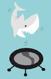 Shark Jumping On A Trampoline. Illustration of a shark jumping on a trampoline Royalty Free Illustration