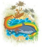 Shark Kingdom. Brave surfer in Shark Kingdom. Vector illustration Stock Photos