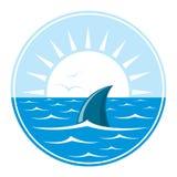 Shark logo illustration. Shark logo. Logotype of sharks fin in in blue water over white sun. Vector Illustration Stock Image