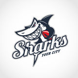 Shark mascot. Angry shark mascot for american football team with title. Vector illustration Stock Photo