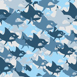 Shark military seamless pattern. Army background of fish. Soldie Royalty Free Stock Photos