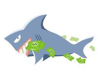 Shark with money. Sneaky shark holding dollars in the teeth Royalty Free Illustration
