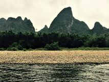 Shark mountain. The shape is like a shark leaping out of the sea with its mouth open stock image