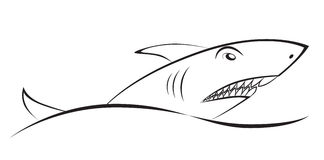 Shark over a wave. Graphic drawing. Element symbol, sign. Stock Photos