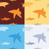 Shark pattern. Wallpaper pattern of sharks in four different colors Royalty Free Stock Images