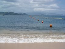 Shark Pevention Net. Beach and shark prevention net in the sea, outdoor shot stock photography