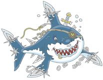 Shark Pirate attacking vector illustration