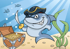 Shark pirate and treasure chest Royalty Free Stock Photo