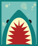 Shark poster on green background Stock Photo