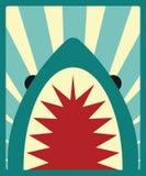 Shark poster with sunburst background Stock Photos